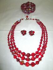 SHERMAN Stunning SIAM RED AB Crystal Necklace & Bracelet and  Earrings Set,