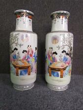 ANTIQUE PAIR OF CHINESE FAMILLE VERTE PORCELAIN VASES, RED MARK SIGNATURE