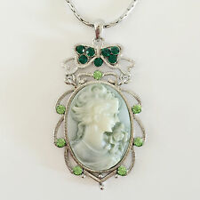 New Angel Vintage Style Cameo Olive Green Floral Oval Charm Chain Necklace N1051