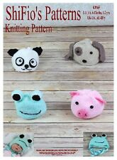 KNITTING PATTERN for ANIMAL PANDA PIG FROG DOG HAT PATTERNS #165 ShiFio Patterns
