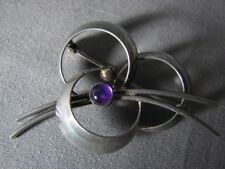 Danish Signed FROM Denmark 925 Modernist Sterling Silver Pin Purple Amethyst