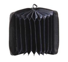 Saddler Leather Concertina 3 Way Zippered Credit Card Holder Gift Boxed Black