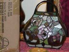 "NIB River of Goods 7.5"" Mariposa Rose Purse Lamp Stained Glass Tiffany Style"