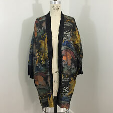 Fuku Mens/Unisex Japanese Kimono Robe Dragon Tiger Black Embroidered Sz L