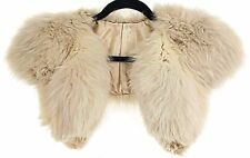 Vintage 1920s light beige ivory fox fur collar stole cape one size