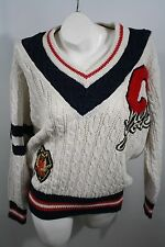 CEDARS Vintage 80's Sweater New York Lettermans C Flag Corps Crest Small V neck
