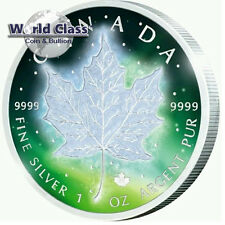 2016 1 oz .999 fine silver Frozen Aurora Rhodium Canada Maple Leaf Coin