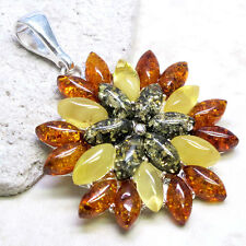FLOWER GENUINE BALTIC AMBER 925 STERLING SILVER PENDANT