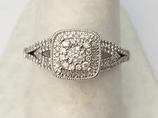 NEW White gold Vintage Cathedral Round Halo Split Shank Diamonds Engagement Ring