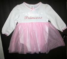 Baby Glam Girls Pink & White Tull Snow Princess Dress Size 6 months NWT