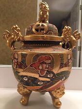 Antique JAPANESE SATSUMA KORO Incense Censer-Gild Foo Dog Handles/Finials Signed