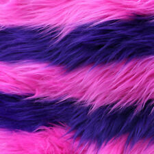 Faux Fur Two Stripe Hot Pink/Purple Fabric - Sold By The Yard