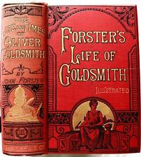 c.1870 THE LIFE AND TIMES OF OLIVER GOLDSMITH ILLUSTRATED FINE BINDING BEAUTIFUL