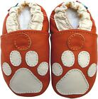 carozoo paw orange 12-18m soft sole leather baby shoes