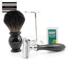 Double Edge safety Shaving Razor and badger hair shaving brush Set travel stand