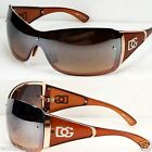 New DG Shield Womens Semi Mirrored Designer Sunglasses Shades Gold Large Fashion
