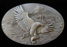 EAGLE CATCHING FISH PEWTER BELT BUCKLE NEW NICE!