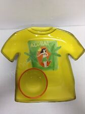 5 pc Dennis East Aloha t-shirt chip dip finger food platter 4 appetizer plates