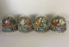 Lot Of 4 1997 Disney's Beauty And The Beast Enchanted Christmas Snow Globes