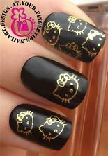 NAIL ART WATER TRANSFERS STICKERS DECALS DECORATION GOLD HELLO KITTY SET #65