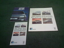 1987 1988 PEUGEOT 205 309 405 505 FLEET UK 8pg BROCHURE + FOLDER + 405 BROCHURE