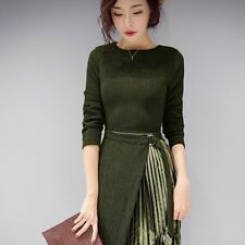 Women Pleated Dress Slim Crew Neck Long Sleeve Waist Cocktail Casual Costume New