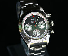 Alpha Mechanical chronograph SG2903 Watch Black Dial And Glass Display Back