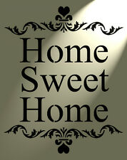 Shabby Chic Rustic Stencil Home Sweet Home Heart Vintage style A4 297x210mm wall