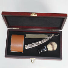 New Shave Kit Knife Men Straight Razor Shaving Brush and leather Strop Gift #01