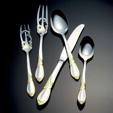 New Yamazaki Japan Cache Gold Accent  Stainless Flatware 5 pc Placesetting Boxed