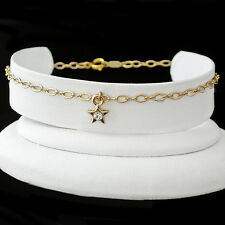 "STAR CRYSTAL CHARM 12"" Fancy OPEN link 14K GOLD EP Anklet Ankle Foot Chain 