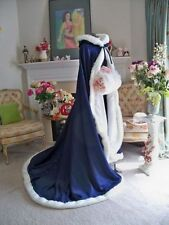 Dark Blue Faux Fur Satin Bridal Hooded Cloak Outdoor Wedding Wrap Winter Shawl
