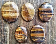 Tigers Eye Oval Worry Stone ~ Palm stone for pocket or crystal grid  ~ SK16