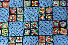 "Crochet Granny Square Afghan Lap Blanket Baby Blue & Multicolored 36"" x 60"""