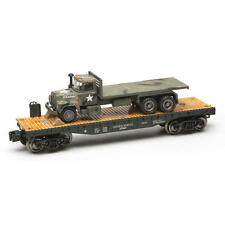 O GAUGE RAILROAD TRAIN FLATCAR WITH MILITARY ARMY MACK TRUCK
