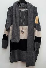 New Italian lagenlook Ladies Striped Knitted Jumper tunic top scarf 16 18 20 22