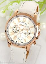 HOT SELLING GENEVA BRAND CHRONOGRAPH STYLED WOMEN'S WRIST WATCH -BIEGE