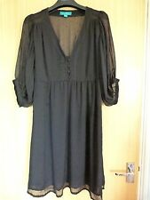 Monsoon Ladies Dress Size 12 Black Fusion Chiffon Boho Smart Casual Party Top
