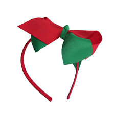 """6"""" Inch Christmas Red Green Large Hair Bow On Red Headband AliceBand UK Stock"""