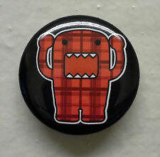 "BRAND NEW Yelling Red Plaid Domo kun 1.25"" Button Pin ~ Officially Licensed"