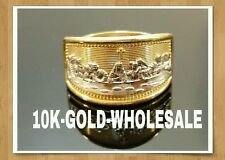 NEW 10K YELLOW GOLD LAST SUPPER HIP HOP STYLE RING MENS & LADIES 4009