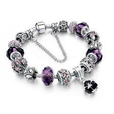 925 Silver Plated Rhinestone Crystal European Charm Beads Bracelet Ladies Bangle