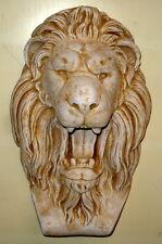 "Roman Art - Lion Head Open Mouth plaque Wall Relief Sculpture 17"""