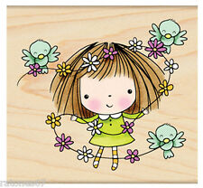 New Penny Black FLOWERS FOR MIMI Wood Rubber Stamp Girl Bird Spring Friends
