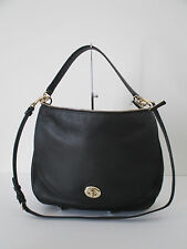 Coach Turnlock Hobo Shoulder Crossbody Bag Black Leather 36762
