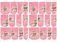24 FULL COVER Water Slide  Nail Decals * PINK HUMMINGBIRD * 12 SIZES  NAIL WRAPS