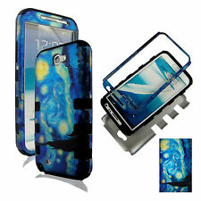 Hybrid Tuff  Blue Art Design For  Samsung Galaxy Note II 2 N71  case cover