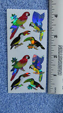 Sandylion PARROTS TOUCANS Strip of 2 Sqs Prism Stickers OUT OF PRINT