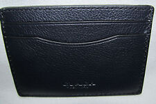 New Mens Coach Midnight Blue Leather Credit Card Slim Money Clip Wallet