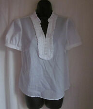 ANN TAYLOR LOFT Petites White Cotton Ruffle Short Sleeve Blouse M P NEW MSRP $39